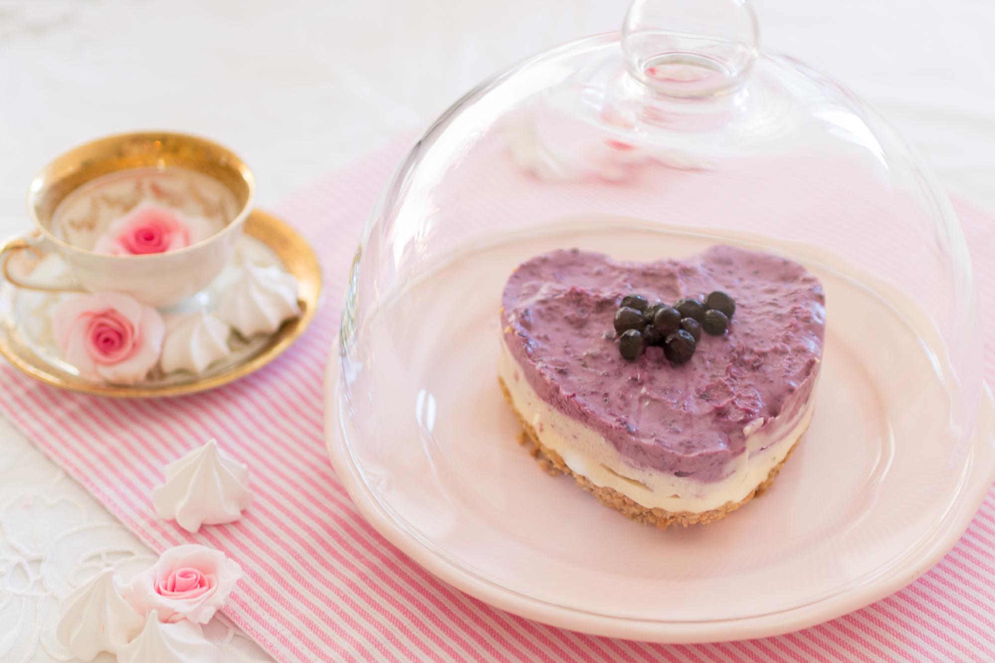 Frischkase Torte Mit Blaubeeren Nobake Tortchen Mit Keksboden