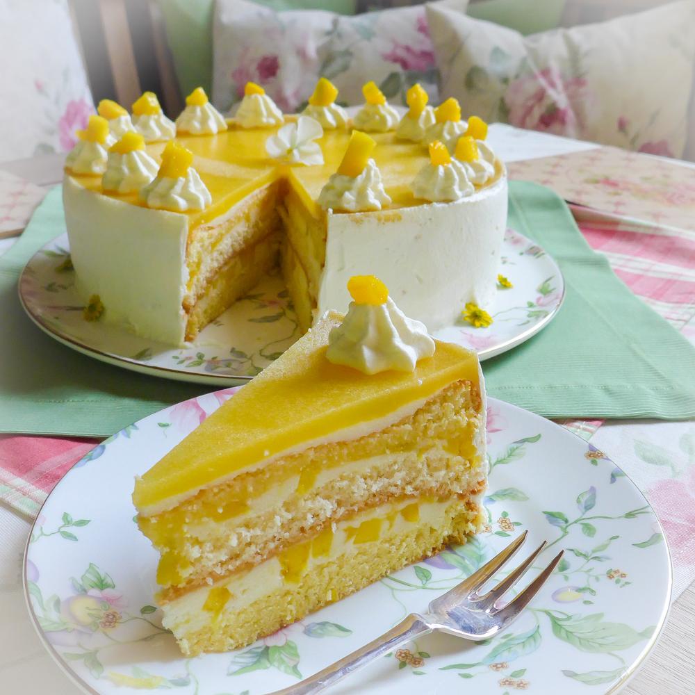 Fruchtige Mango Sahne Torte